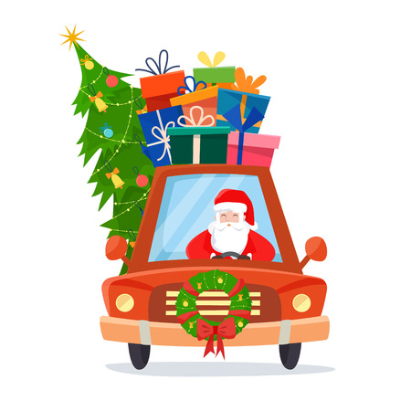 Chrismas car with Santa Claus as the driver with gifts, tree and decorations. Flat cartoon style vector illustration.