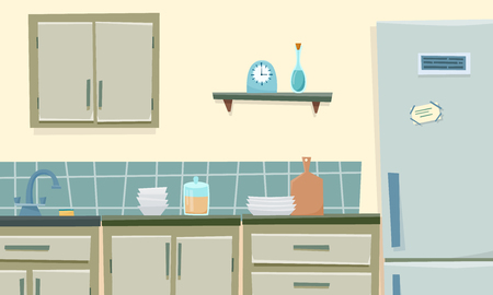 Kitchen interior with furniture and fridge. Flat cartoon style