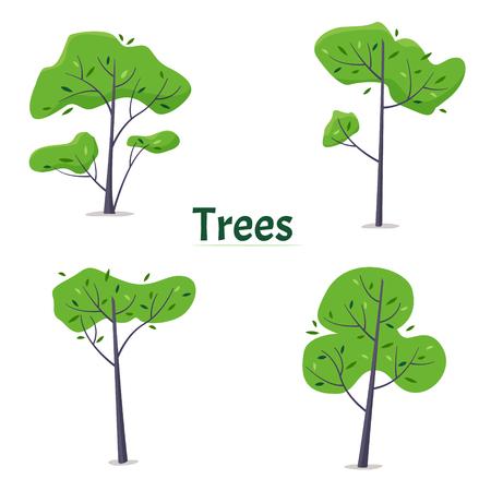Cartoon green trees set on white background.