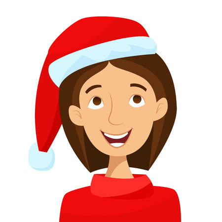 Girl in Santa hat. Merry Christmas. Flat cartoon style