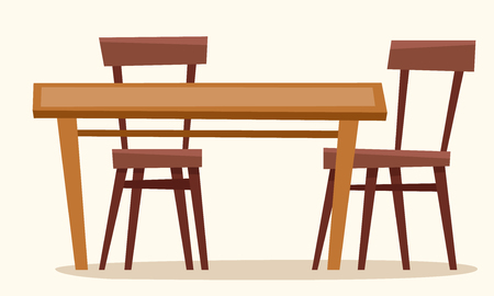 Table with chairs. Window with curtain. Flat cartoon style