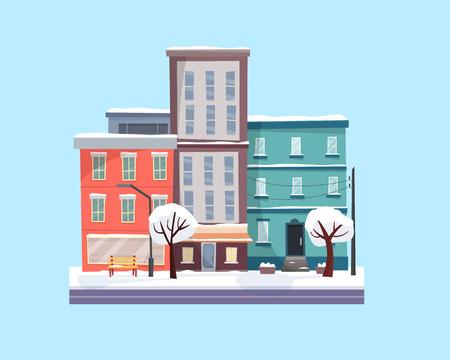 Christmas winter city street. Flat cartoon style Banco de Imagens