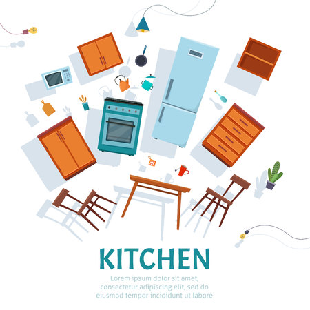Float kitchen interior with furniture hovering on white background .