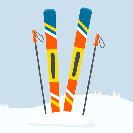 Ski equipment on resort. Flat certoon style vector illustration. Ilustracja