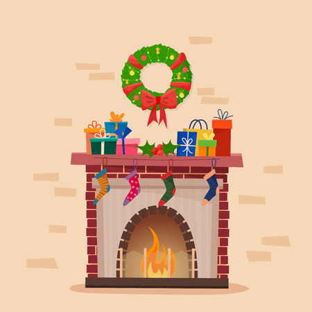 Christmas fireplace with socks, decorations and wreath.