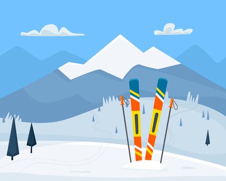 Ski equipment on resort. Flat cartoon style Stock Photo