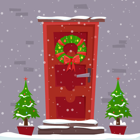 Christmas red door with wreath, snow and fir. Фото со стока