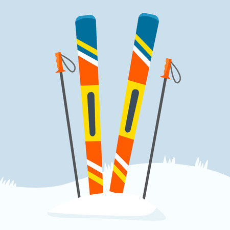 Ski equipment on resort. Flat certoon style vector illustration. Stock Photo