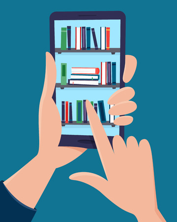 Online library in phone in hands. Flat cartoon style vector illustration.