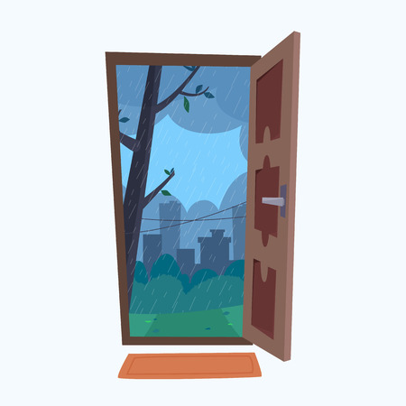 Open door into rain city view. Flat cartoon style vector illustration.