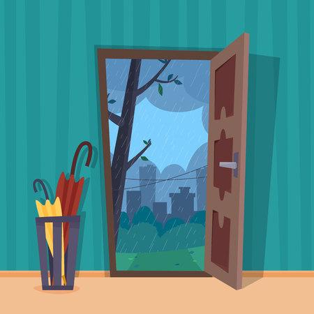 Open door into rain city view. Umbrella in room. Flat cartoon style vector illustration.
