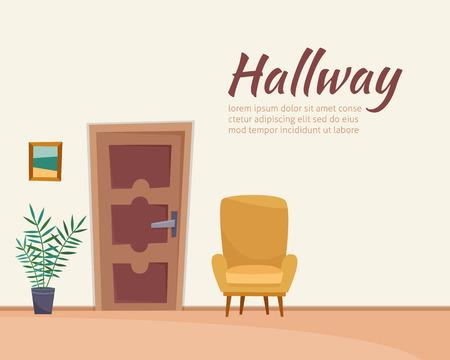 Hallway interior with furniture. Flat cartoon style vector illustration. Stock fotó