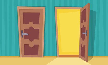 Abra y cierre puertas. Ilustración de vector de estilo de dibujos animados plana.
