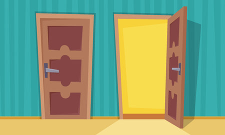 Open and close doors. Flat cartoon style vector illustration. Banque d'images