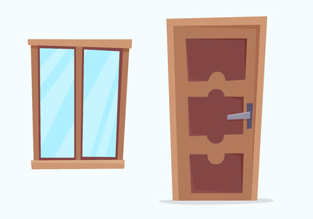 Window and door. Flat cartoon style vector illustration. Stock Photo