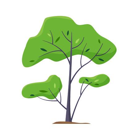 Cartoon green tree. Flat style vector illustration.