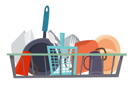 Clean dishes. Flat cartoon style vector illustration. 写真素材