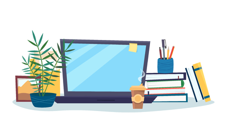 Work table with computer, books, coffee, plant. Workplace room interior. Flat cartoon style vector illustration.