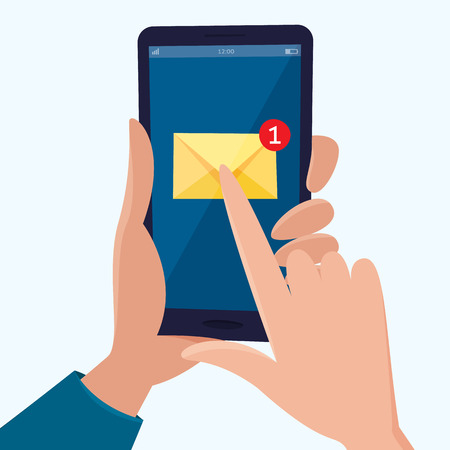 New email notification on mobile phone in hand. Flat cartoon style vector illustration.