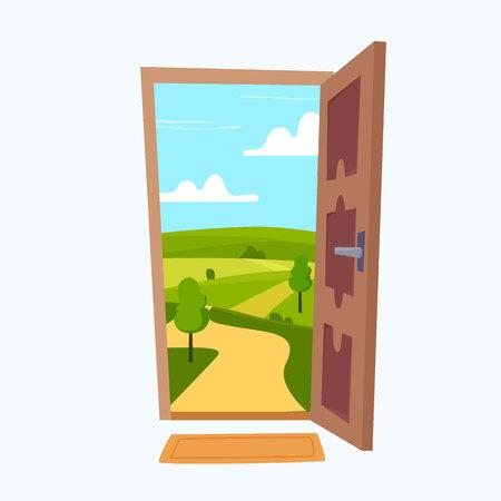 Porta aperta con paesaggio soleggiato in camera. Illustrazione di vettore di stile piatto del fumetto.
