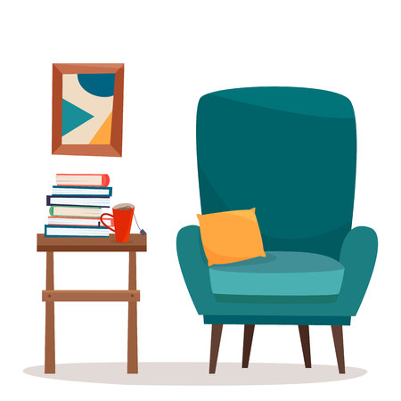 Chair with table and books. Flat cartoon style vector illustration. Imagens