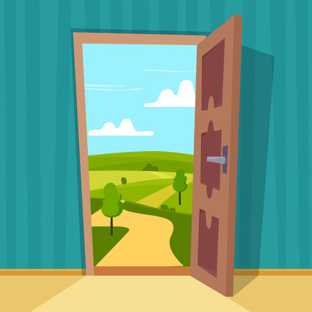 Open door with sunny landscape in room. Flat cartoon style vector illustration. Stockfoto