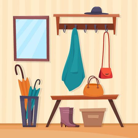 Hallway interior with furniture. Flat cartoon style vector illustration. Banco de Imagens