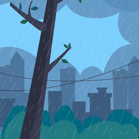 Rain landscape with tree. Flat style vector illustration.