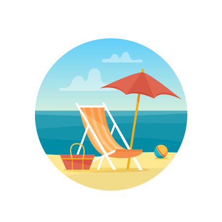 Chaise-longue on the beach under a umbrella. Lounge with sea on tropical background. Flat style vector illustration.