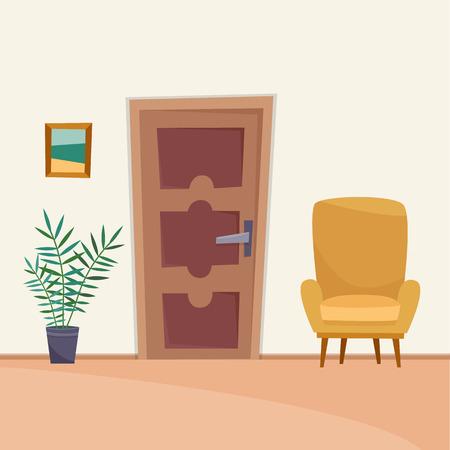 Hallway interior with furniture. Flat cartoon style vector illustration. Illusztráció