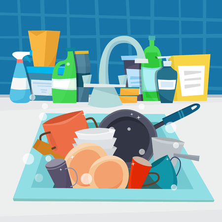 Kitchen sink with detergents. Flat cartoon style vector illustration.