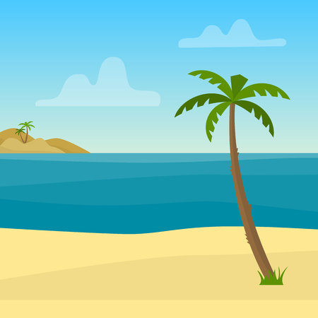 Tropical background with sea, ocean, palm and sand. Flat style vector illustration.