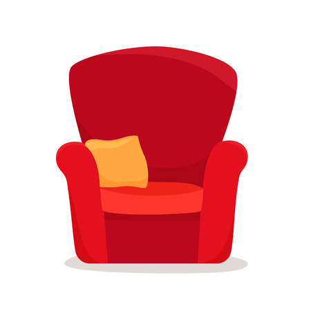 Single soft armchair with pillow. Flat style vector illustration. Çizim