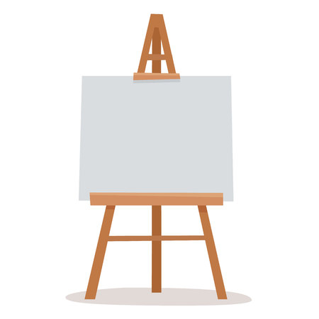 Easel with white canvas. Flat cartoon style vector illustration. Ilustração