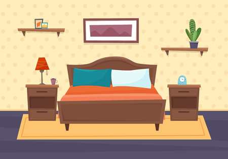 Bedroom with furniture. Flat style vector illustration.  イラスト・ベクター素材