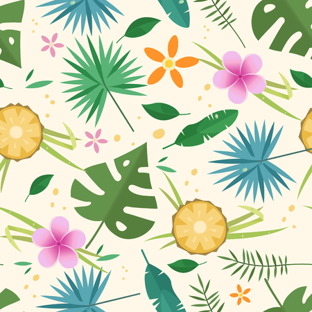 Tropical seamless pattern with flowers and leaves