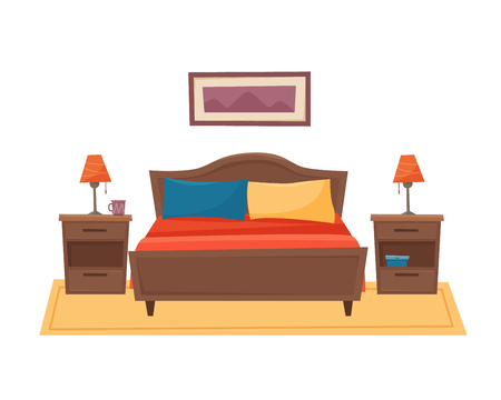 Bedroom with furniture. Flat style vector illustration. 写真素材