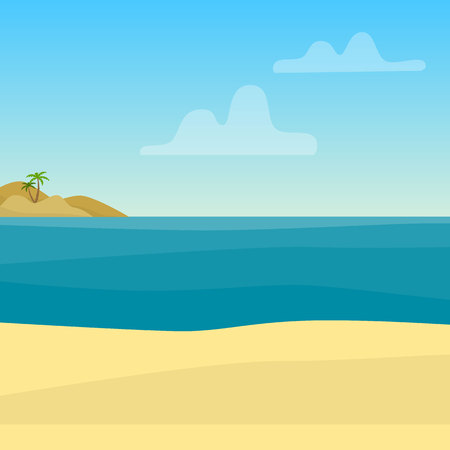 Tropical background with sea, ocean and sand. Flat style vector illustration.
