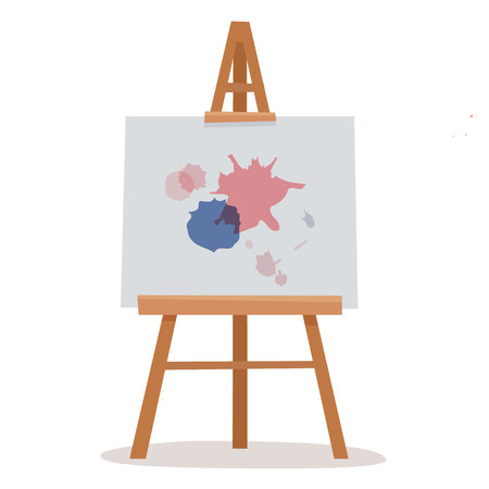 Easel with white canvas. Flat cartoon style vector illustration. Stok Fotoğraf