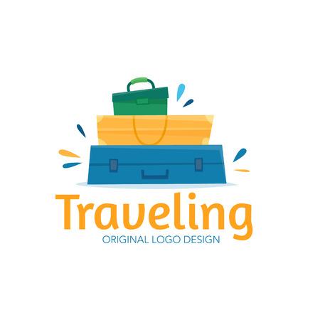 Travel logo design. Flat cartoon style vector illustration.