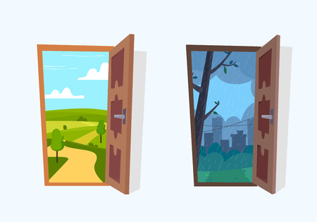 Open door into sunny and rain landscapes. Flat cartoon style vector illustration.