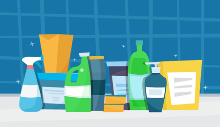 Washing detergents. Flat cartoon style vector illustration.