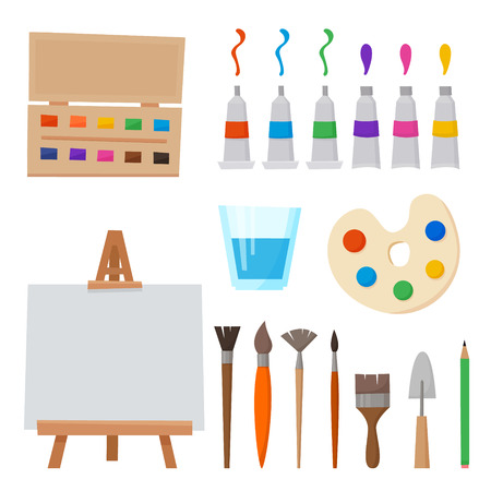 Art tools and materials for painting and creature for artist. Paint tubes, palette, canvas and brush. Flat cartoon style vector illustration. 写真素材