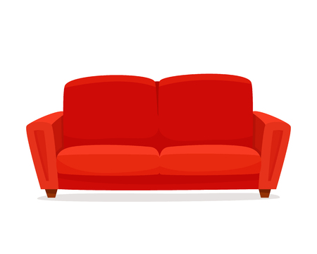 Comfortable sofa on white background. Isolated red couch lounge in interior. Flat cartoon style vector illustration. Stock Photo