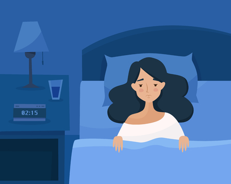 Sleepless girl suffers from insomnia. Woman in bed with open eyes in darkness night room. Flat cartoon style vector illustration. Archivio Fotografico - 126900873