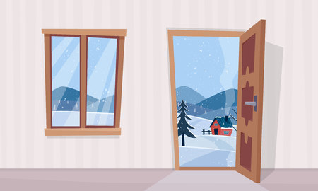 Window and door with winter landscape. Flat cartoon style vector illustration.