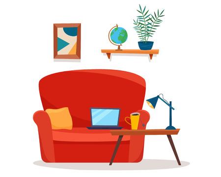 Soggiorno con divano, computer e tavolo. Illustrazione di vettore di stile piano del fumetto.