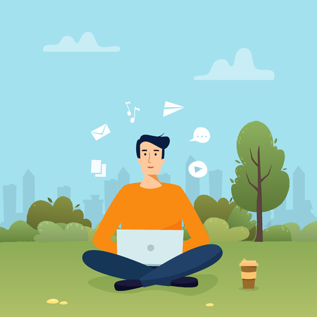 Man with computer work in park. Freelancer with coffee. Flat cartoon style vector illustration.  イラスト・ベクター素材