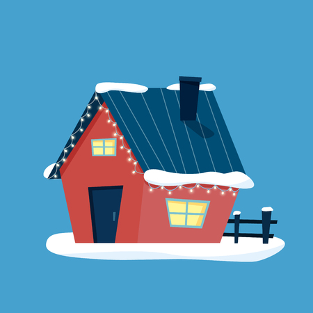 Christmas house with snow decorated lights. Happy new year. Flat cartoon style vector illustration.