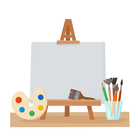 Art tools and materials for painting and creature for artist. Paint tubes, palette, canvas and brush. Flat cartoon style vector illustration.  イラスト・ベクター素材